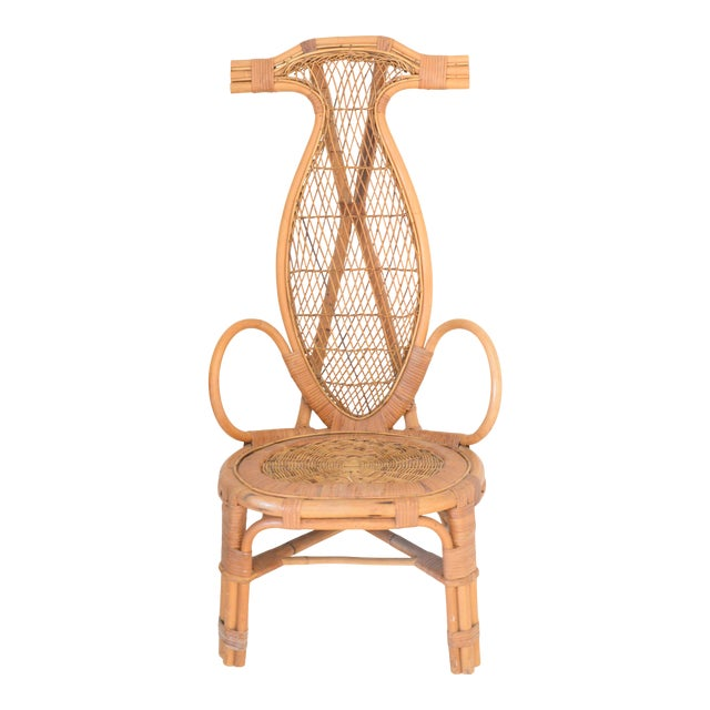 Mid Century Rattan Horn Chair For Sale