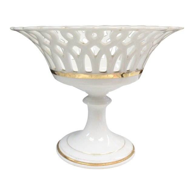 Traditional White Punched Compote For Sale