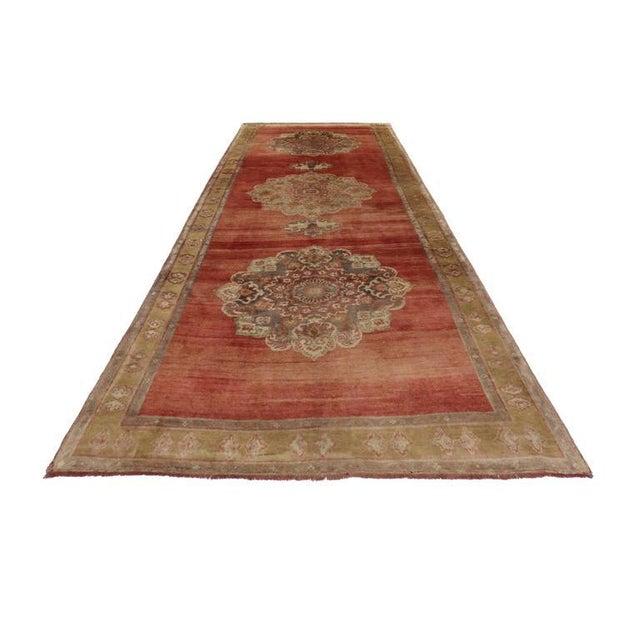 Vintage Turkish Oushak Carpet Runner For Sale - Image 4 of 6
