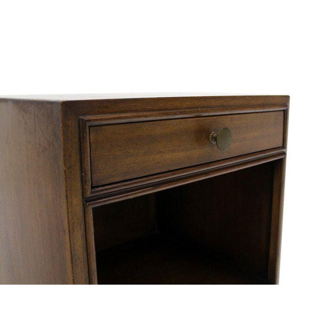 Early 20th Century Pair of Johnson Mid-Century Modern Walnut Night Stands For Sale - Image 5 of 7