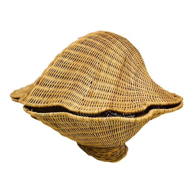 Vintage Woven Wicker Clam Shell Basket For Sale