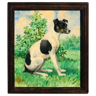 Victorian Portrait of a Seated Jack Russell in Landscape, Signed Bruns For Sale