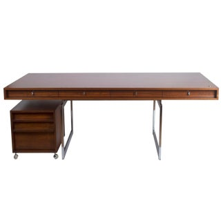 Vintage 1960s Bodil Kjaer Danish Modern Rosewood Executive Work Desk and Matching Rosewood Rolling File Cabinet For Sale