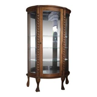 Victorian Oak and Glass Claw Foot Cabinet