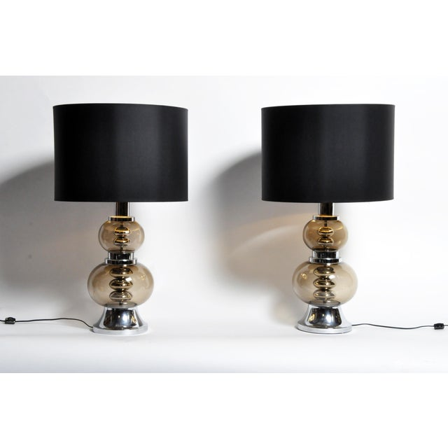 Glass and Chrome Table Lamps - A Pair For Sale - Image 13 of 13