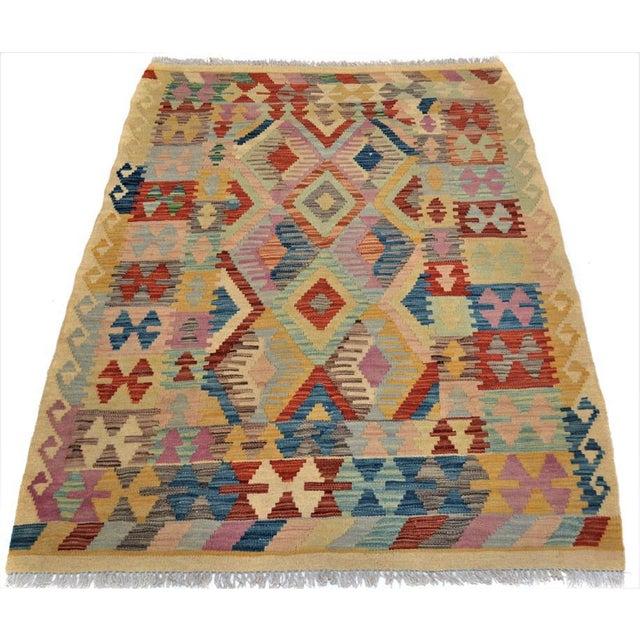Arya Edmond Beige/Blue Wool Kilim Rug - 3'3 X 4'11 A9216 For Sale - Image 4 of 7