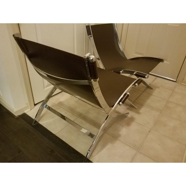 Brown Mid-Century Modern Style Leather Sling & Chrome Chairs - a Pair For Sale - Image 8 of 10