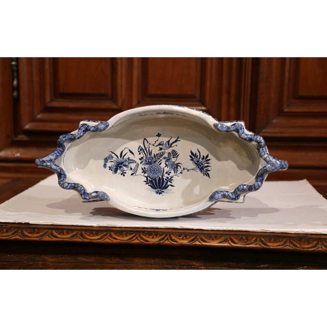 White Early 20th Century French Oval Hand-Painted Blue & White Jardinière For Sale - Image 8 of 11