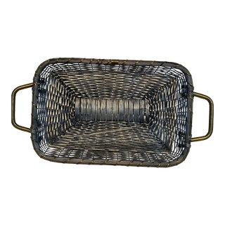 Woven Silver-Plate and Brass Basket For Sale