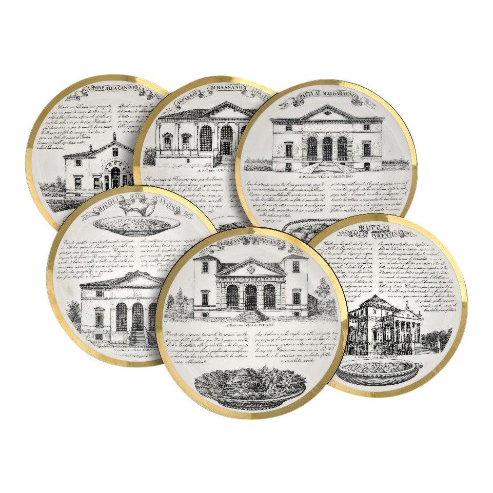 Fornasetti Vintage Dinner Plates - Set of 6 | Chairish