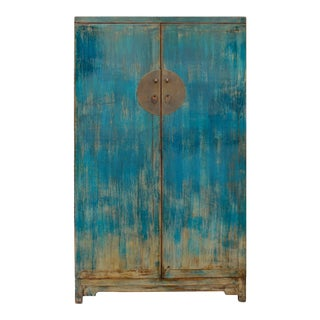 Chinese Distressed Rustic Bright Blue Drawers Dresser Cabinet For Sale