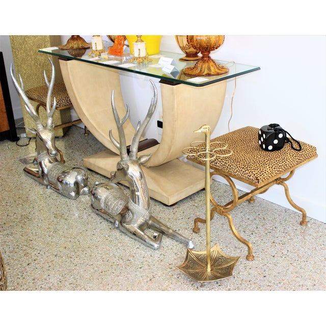 Continental Art Deco Umbrella Stand Holder Polished Brass For Sale - Image 10 of 10