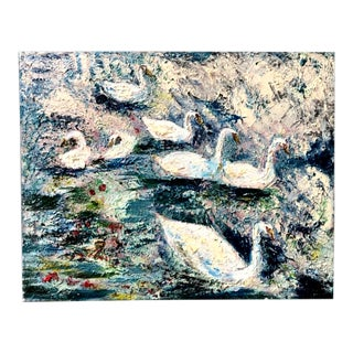 Impressionist White Swans Swimming Water Oil Painting on Canvas For Sale