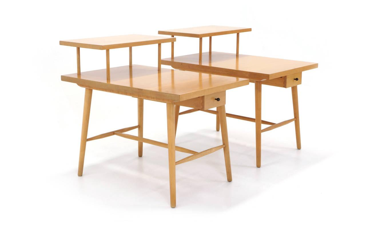 Pair Of Paul McCobb Step Side Tables With Drawer From The Predictor Group    Image 2