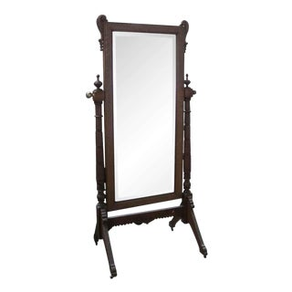 Cheval Beveled Oak Full Length Mirror For Sale