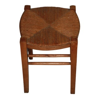 Vintage French Rush Seat Farm Stool For Sale
