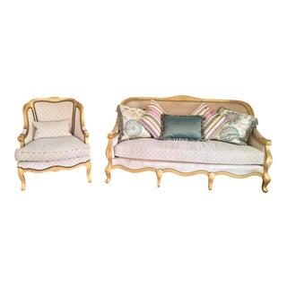 Paul Robert Raquel Sofa & Armchair Set - A Pair For Sale