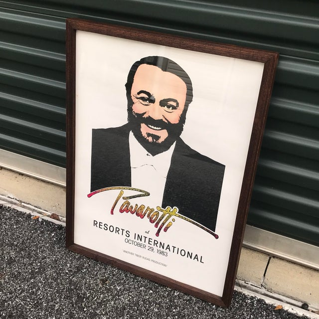 Black 1983 Original Luciano Pavarotti Framed Concert Poster For Sale - Image 8 of 11