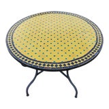 "Image of Moroccan 44"" Yellow / Black / Green Mosaic Table, For Sale"