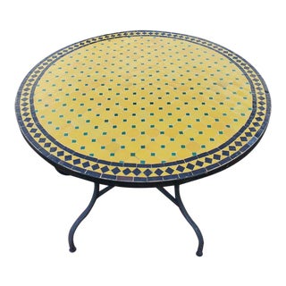 """Moroccan 44"""" Yellow / Black / Green Mosaic Table, For Sale"""