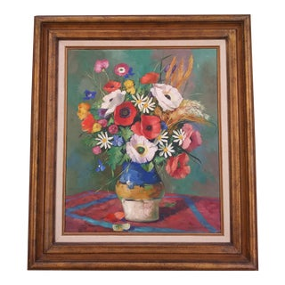 1960s Red and White Poppies Floral Still Life Oil Painting by Andreas Helmuth Volkwein, Framed For Sale