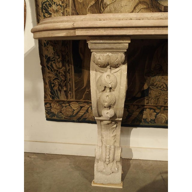 French Antique Marble Top Console Table from South-East France For Sale - Image 3 of 10