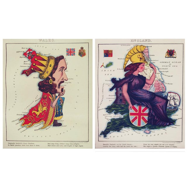 This is a lovely reproduction of the original hand tinted Fun Maps of Europe from 1869. The 12 maps set depicts European...