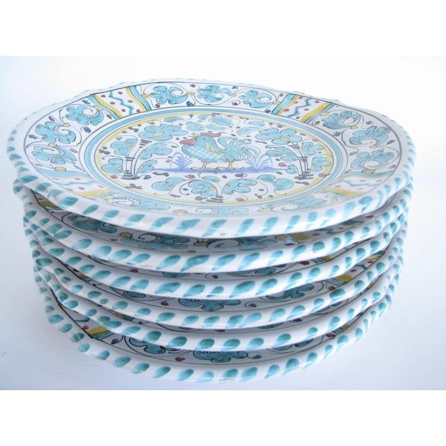 Mid 20th Century Vintage Mari Deruta Italian Majolica Green Rooster Orvieto Pottery Plates - Set of 6 For Sale - Image 5 of 10