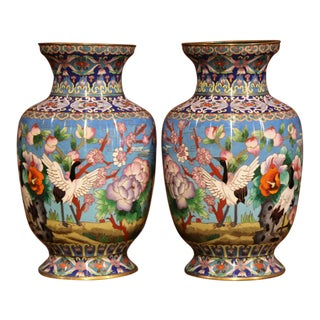 Pair of Mid-20th Century Chinese Cloisonné Vases With Bird and Floral Decor For Sale
