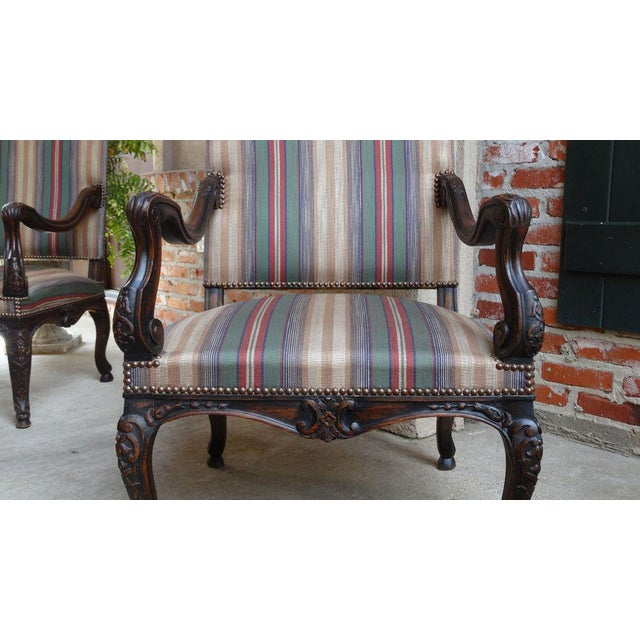 Late 19th Century Antique Louis XV French Carved Walnut Dining Arm Chair For Sale - Image 5 of 11