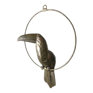 Sergio Bustamante Brass Parrot Sculpture For Sale