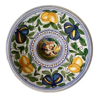 "Italian Hand-Painted 16"" Centerpiece Bowl For Sale"