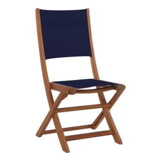 Stella Teak Outdoor Folding Chair in Blue Textilene Fabric For Sale