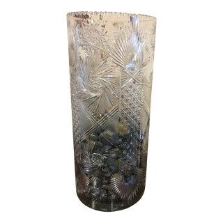 Signed Cut Glass Umbrella Holder For Sale