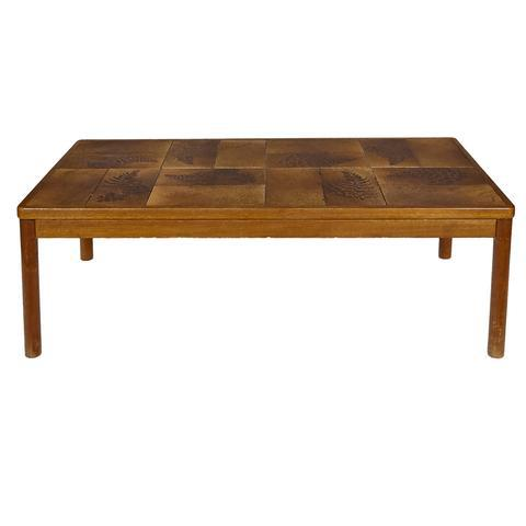 1970s Danish Teak And Tile Top Coffee Table. Tile Has A Fern Design. Marked