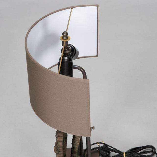 Pair Custom Designed Iron Bow Lamps For Sale - Image 4 of 5