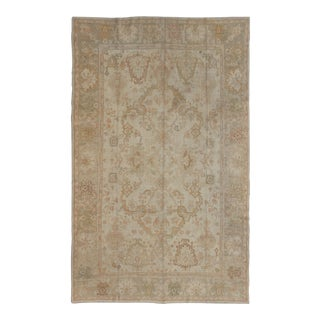 Keivan Woven Arts Antique Oushak Rug in Taupe, Beige, Green and Ivory For Sale