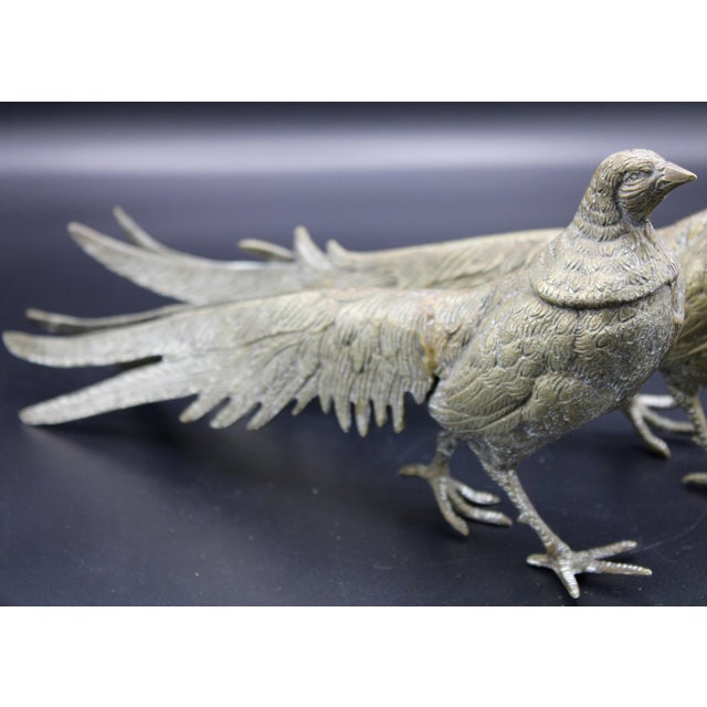 Large Italian Silver Plate Pheasant Figurines - a Pair For Sale - Image 6 of 13