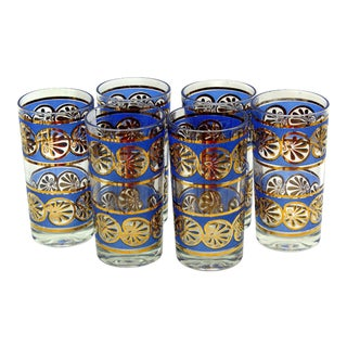 Vintage Blue & Gold Plate High Ball Glasses - Set of 6