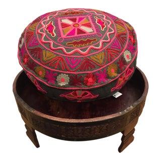 Vintage Indian Wood Grinder Ottoman