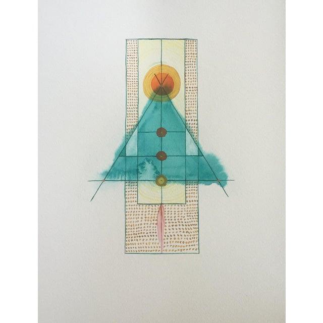 Lori Fox Abstract Watercolor Totem - Image 1 of 9