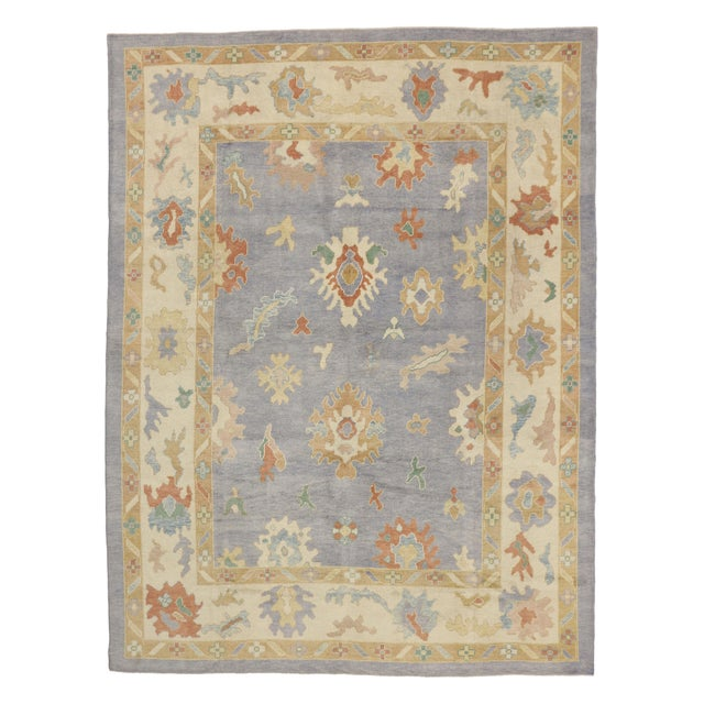 Blue Contemporary Turkish Oushak Rug in Pastel Colors Boho Chic Style, 9'5 x 12'5 For Sale - Image 8 of 8
