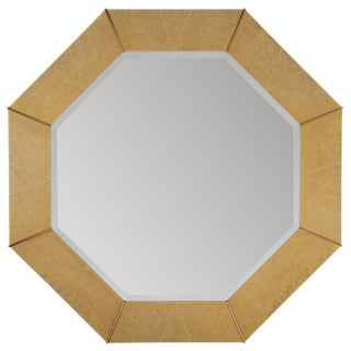 1970S KARL SPRINGER FAUX-SHAGREEN AND BRASS MIRROR For Sale