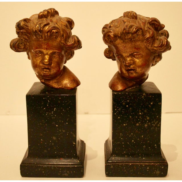 A beautiful and extremely rare vintage set of gold gilt Borghese Italian Cherub / Putti bookends. Original BORGHESE label...