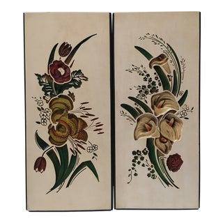 Mid Century Chalkware Botanic Plaques - a Pair For Sale