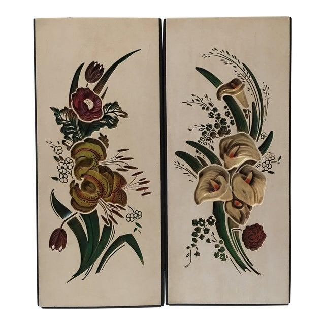 Mid Century Chalkware Botanic Plaques - a Pair For Sale
