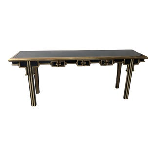 Master Craft Asian Motif Brass and Black Enamel Console Table For Sale