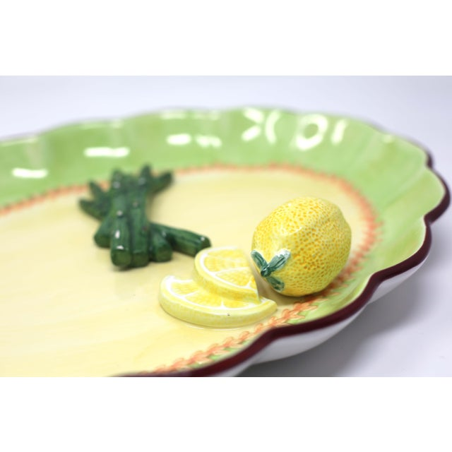 Hollywood Regency Vintage Hand-Painted Trompe l'Oeil Lemon and Asparagus Decorative Plate For Sale - Image 3 of 11