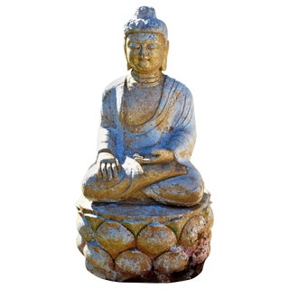 Gilded Stone Buddha Statue on Lotus For Sale