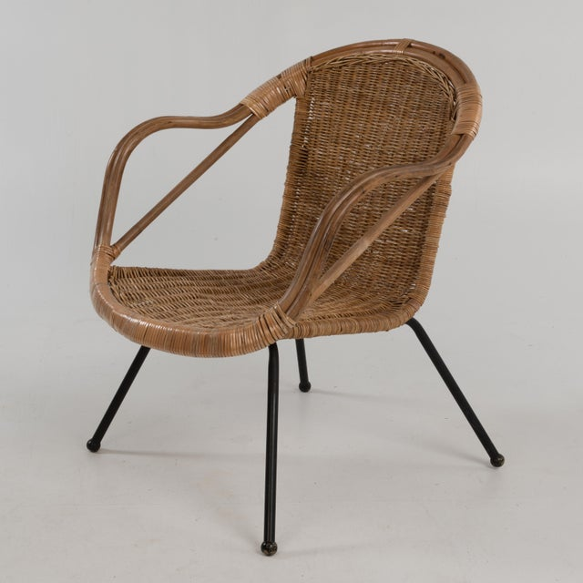 Mid Century Boho Bamboo Rattan Hoop Chair For Sale - Image 13 of 13